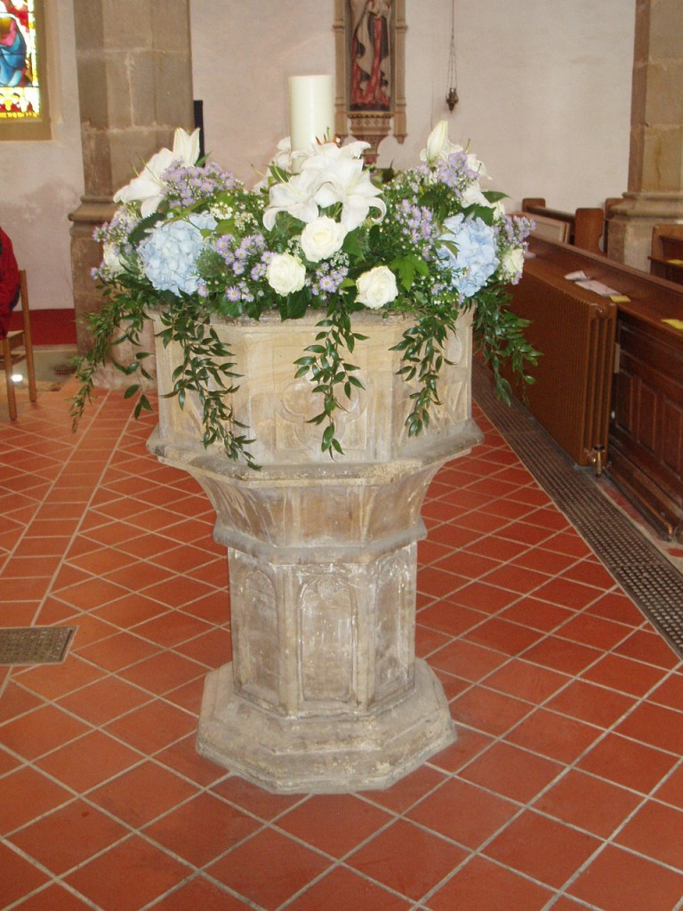 Font with lillies